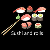 delicious Japanese sushi and rolls