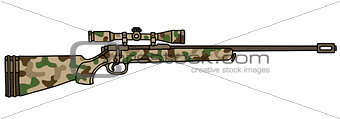 Camouflage rifle with a telescope