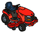 Red garden mower