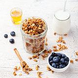 Healthy breakfast Fresh granola, muesli