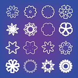 Flower on blurred background. Vector illustration. Flat style icons.