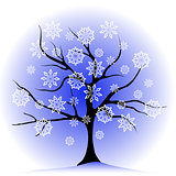 winter tree and  snowflakes