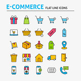 E-commerce Colorful Flat Line Icons Set