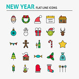 Happy New Year Colorful Flat Line Icons Set