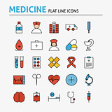 Healthcare and Medical Colorful Flat Line Icons Set