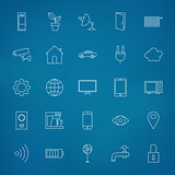 Internet of things Line Icons Set over Blurred Background