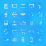 Internet of Things Line Icons Set over Polygonal Background