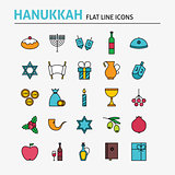 Jewish Hanukkah Colorful Flat Line Icons Set