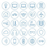 Line Circle Internet of Things Icons Set