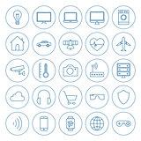 Line Circle Internet of Things Icons Set
