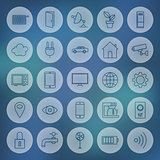 Line Circle Web Internet of Things Icons Set
