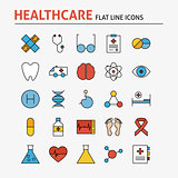 Line Health Care and Medicine Colorful Flat Icons Set