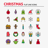 Merry Christmas Colorful Flat Line Icons Set