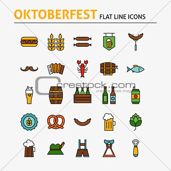 Oktoberfest Beer Colorful Flat Line Icons Set
