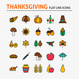 Thanksgiving Day Colorful Flat Line Icons Set