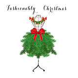 Seasonal Fashion Illustration - Christmas tree on a mannequin