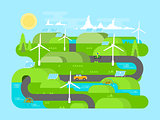 Green energy flat design