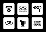 optician icons set