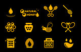 yellow honey icons set