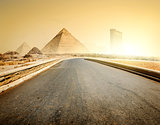 Road and pyramids