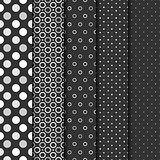 Set of seamless patterns with cirlces and dots.