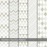 Set of vector geometric seamless patterns.