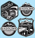 vector set of badges for advertising gasoline