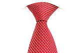 red tie, knotted the double Windsor