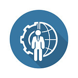 Global Integration Icon. Flat Design.