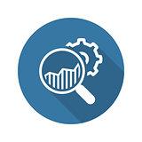Market Research Icon.  Flat Design.