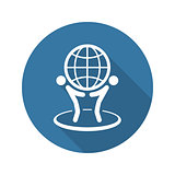 Global Business Icon. Flat Design.