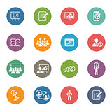 Business Coaching Icon Set. Online Learning. Flat Design.