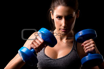fitness woman on black background