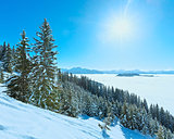 Sunny winter mountain landscape