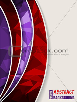 Abstract purple brochure with light and dark polygons and red tr