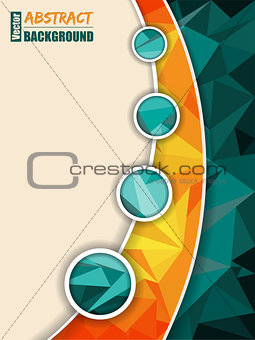 Abstract turquoise brochure with orange transparent stripe