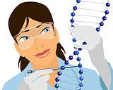Geneticist with DNA molecule