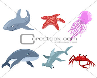 Six marine inhabitants