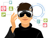 Boy in virtual reality glasses