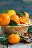 Tangerines and lemons in the basket.