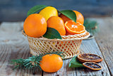 Basket with citrus and spruce branches.