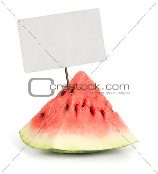 Slice of juicy red watermelon with price tag