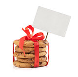 chocolate chip cookies and red ribbon with price tag