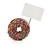 chocolate doughnut with price tag