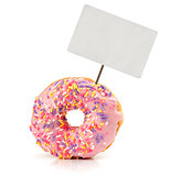 strawberry flavoured donut with price tag