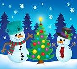 Christmas snowmen theme image 1