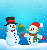 Christmas snowmen theme image 2