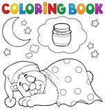 Coloring book sleeping bear theme 1