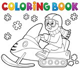 Coloring book snowmobile theme 1