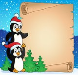 Parchment with Christmas penguins